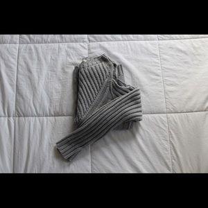 Francesca's Gray Cold-Shoulder Sweater